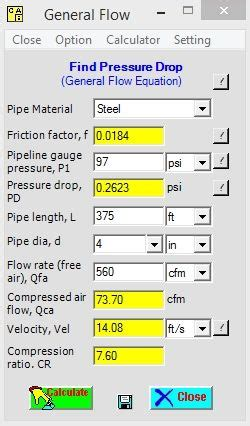 compressed air pipe sizing table compressed air calculation pressure drop