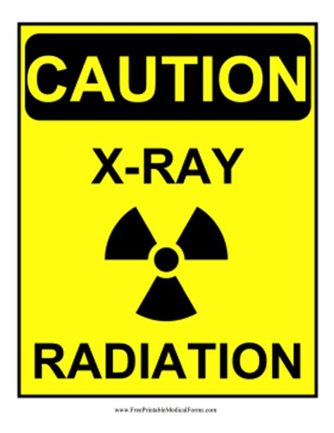 printable caution x ray radiation sign