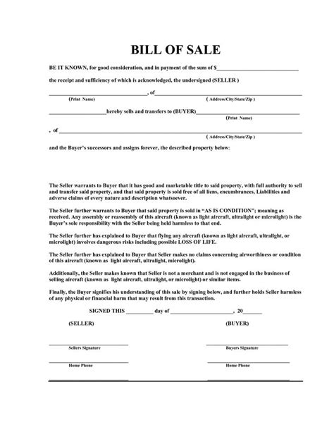 free bill of sale template exles for selling personal