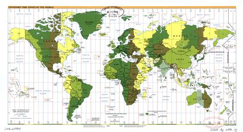 large scale standard time zones   world map