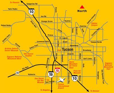 printable map of tucson area tucson area map