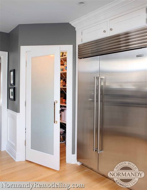 frosted pantry door adds  stylish element   gray