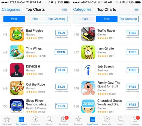 ios app store top charts now display 150 results down
