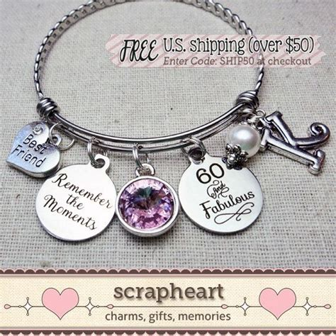Bracelets For Ladies: 60th BIRTHDAY Gift, Milestone Birthday Gifts for FRIEND, 60 and Fabulous