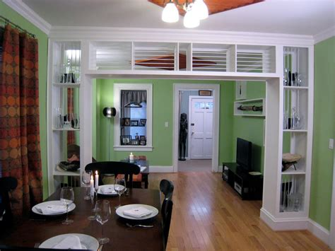 the living room restaurant built in bookcase and room divider hgtv