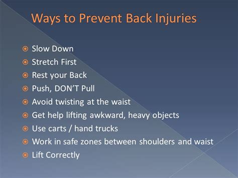 7 Ways To Avoid A At The End Of A Date by Back Safety And Lifting Injury Prevention Ppt