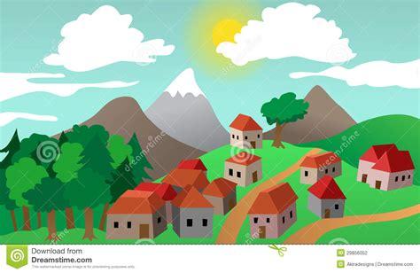 art design village village or town suburb landscape stock vector image