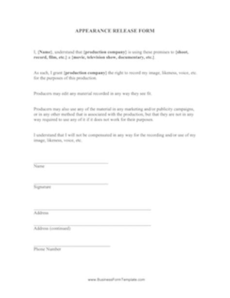 appearance release form template appearance release form template