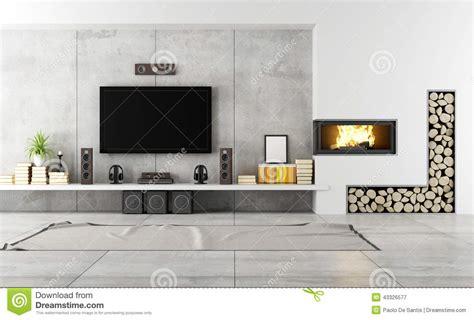 camino in salotto salotto contemporaneo con il camino illustrazione di stock