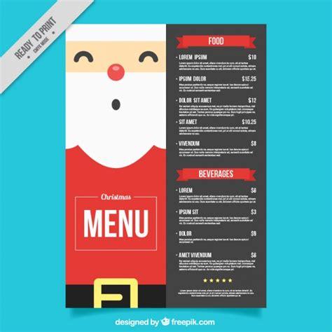 flat design menu exles christmas menu template with nice santa claus in flat