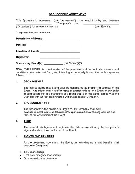 sponsor agreement template 10 best images of sponsorship agreement template