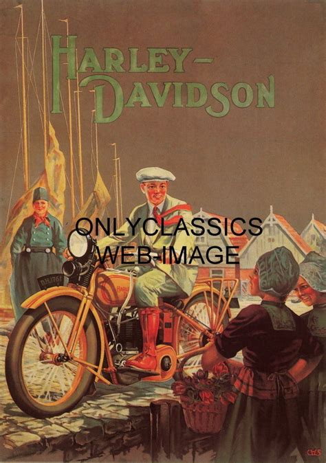 Poster Harley Davidson 1 1928 harley davidson motorcycle vintage poster of the world great graphics ebay