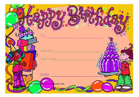 Birthday Card Gift Certificate Template by Birthday Gift Certificate Template Gift Certificates