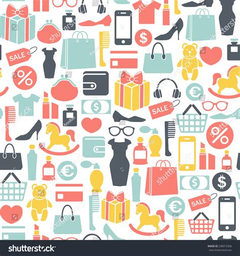 seamless pattern with shopping icons seamless vector background colorful shopping icons stock