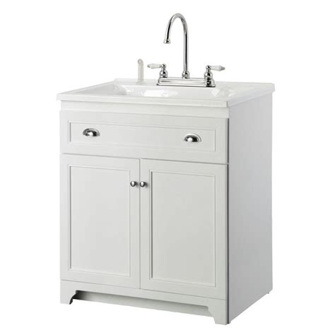 white utility sink with cabinet foremost keats 30 in laundry vanity in white and premium