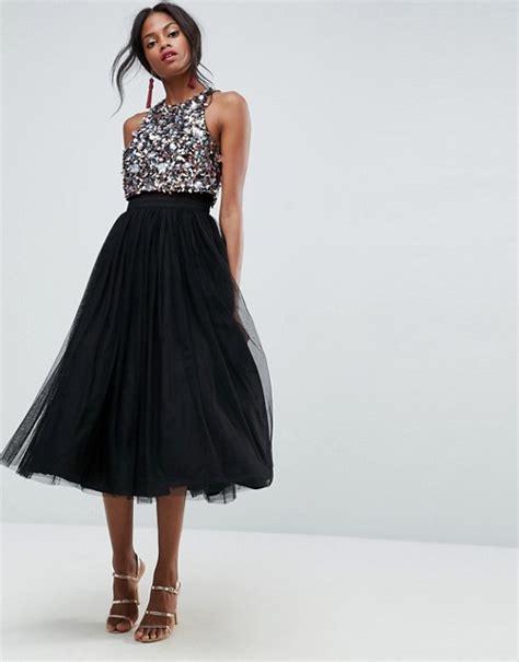 asos wedding tulle midi dress asos asos cluster embellished crop top tulle midi dress