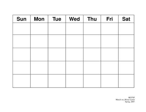 blank calendar 2016 monday through friday calendar