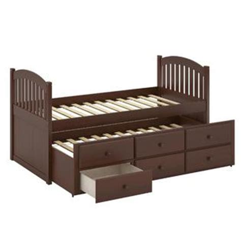 Solid Wood Trundle Bed With Drawers by Corliving Heritage Place Espresso Brown Stained Solid Wood