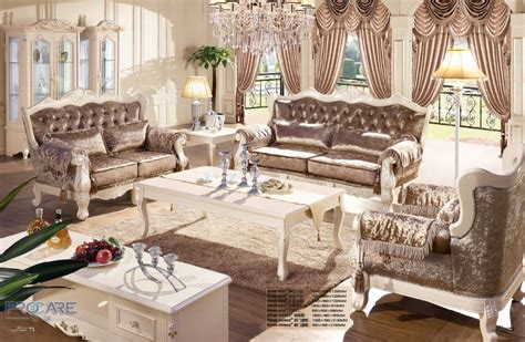China Living Room Furniture European Style Brown Armchair Sofa Set Living Room Furniture Modern Fabric Set Furniture