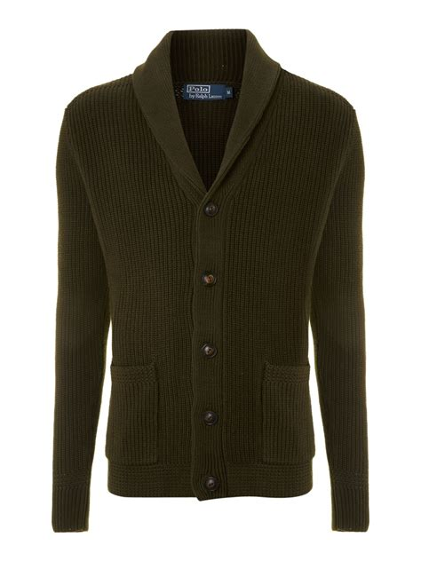 Cardigan Polos Polo Ralph Shawl Collar Ribbed Cardigan In Green