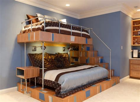 unique bunk beds custom bunk beds bedroom rustic with library ladder twin