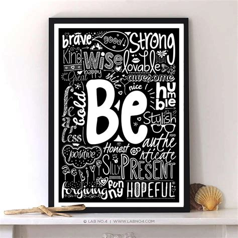 be words typography on motivational quotes print poster