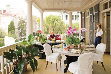 south carolina home decor alfresco dining charleston home porch southern living