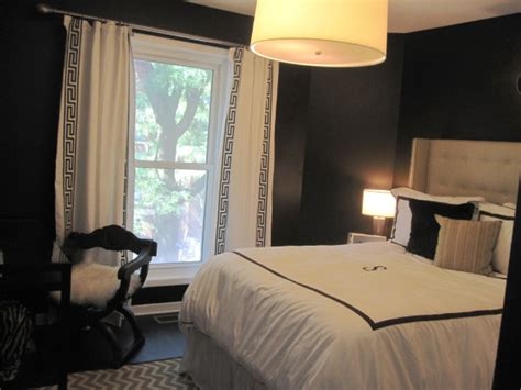 black bedroom walls black and white curtains contemporary bedroom hgtv
