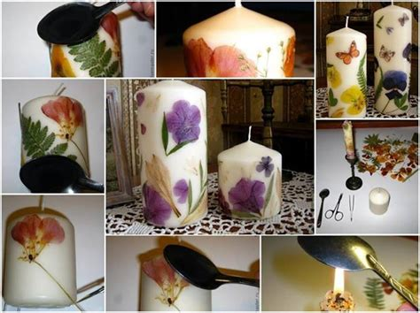 how to make decorative candles at home diy decoupaged candle with dried flower