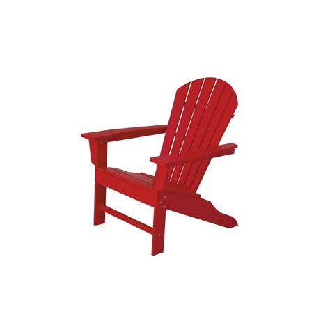 Plastic Patio Chairs Home Depot Polywood South Sunset Plastic Patio Adirondack Chair Sba15sr The Home Depot
