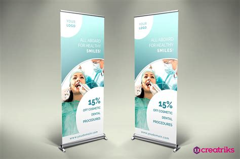 banner design for dental clinic dental roll up banner v029 flyer templates creative