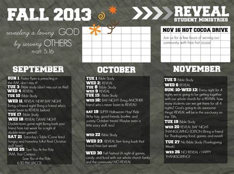 Youth Ministry Calendar Template by Reveal Youth Fall Calendar Possibly Send Out To The