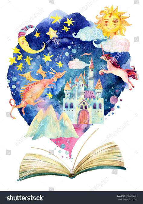 unicorn fairy tale illustrations watercolor open book magic world fairy stock illustration