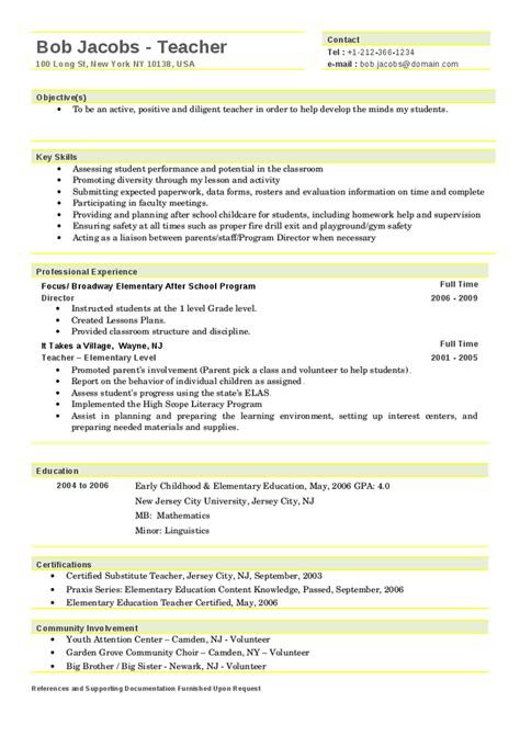 sample resumes for teachers samuelbackman com