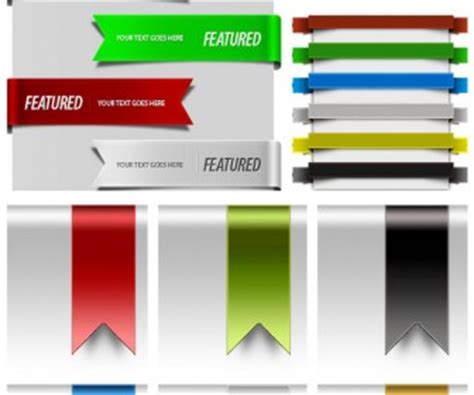 free web design ribbons psd realistic objects