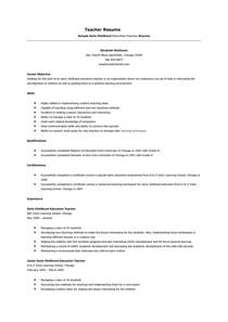 Preschool Resume Objective Exles by 7 Sle Preschool Resume Objective Resumes Design