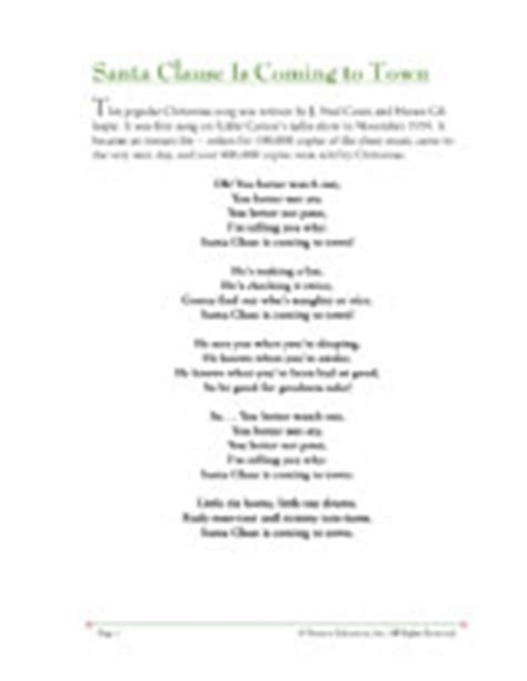 printable lyrics for santa claus is coming to town christmas song lyrics santa claus is coming to town