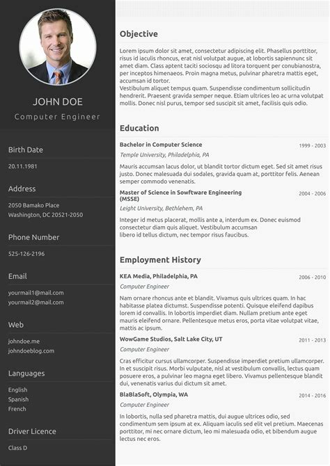 One Page Resume Templates by Free One Page Resume Template Viaweb Co