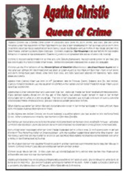 agatha christie biography text maze english worksheets agatha christie queen of crime