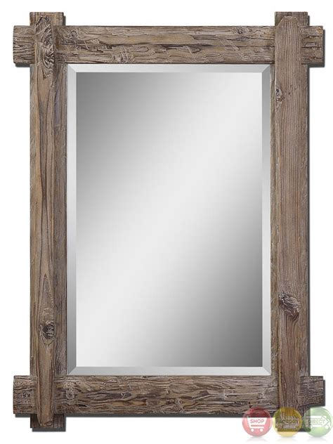 Wood Vanity Mirror by Claudio Rustic Light Walnut Stained Wood Vanity Mirror 07635