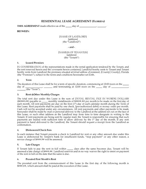 Florida Fixed Term Residential Lease Agreement Legal Forms And Business Templates Megadox Com Fixed Term Lease Agreement Template