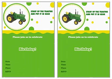 Printable John Deere Birthday Cards | john deere birthday invitations birthday printable