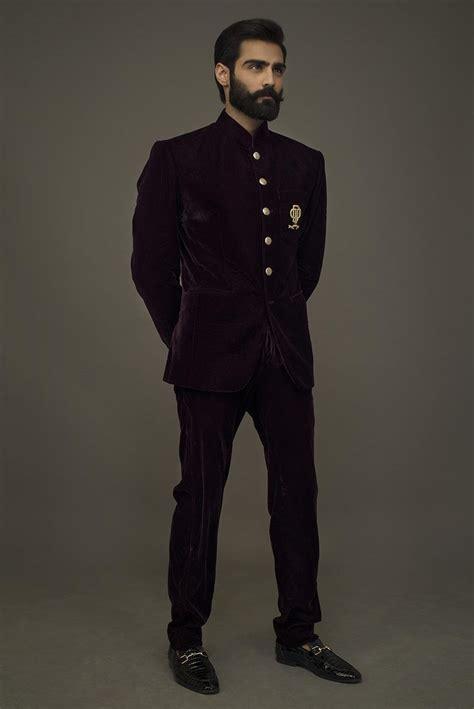 Deepak Perwani. Maroon velvet prince coat pant