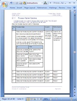 Business Process Design Templates Ms Word Excel Visio Process Document Template Free
