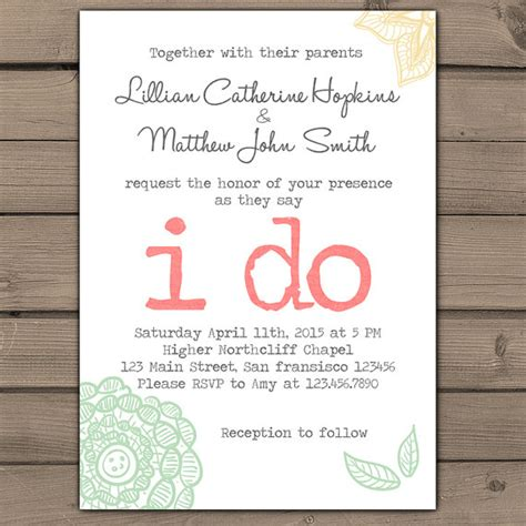 wedding invitation i do lace wedding invites typewriter