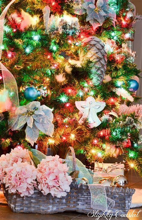 colored lights traditional tree with colored lights slightly