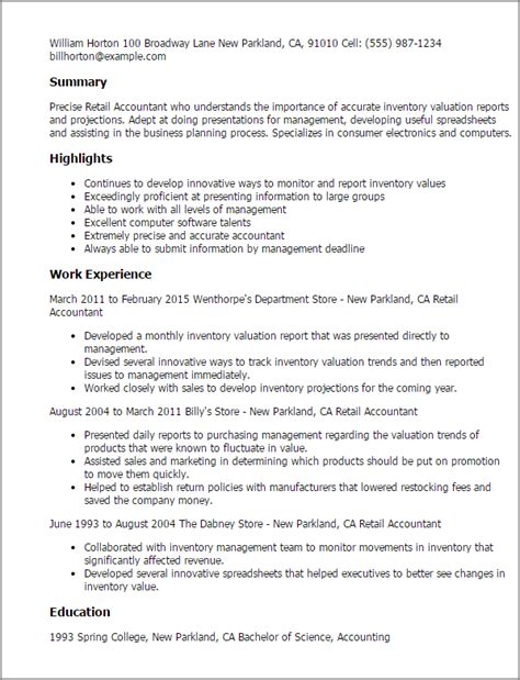 resume sles word format professional retail accountant templates to showcase your