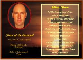 funeral card templates free exle of funeral christian memorial card cross