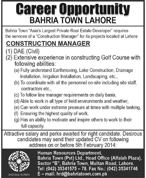 Online Civil Engineering Jobs Work From Home - dae civil job bahria town lahore job construction manager 26 jan 2014 jhang jobs