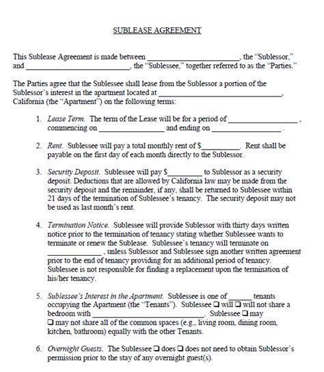 printable sublease agreement free printable sublease agreement printable agreements